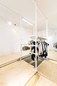 Neat scaffolding design helps concept store showcase Poland's best art and design... http://www.we-heart.com/2014/08/13/no-wodka-berlin/