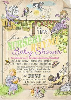 nursery rhyme baby shower pastel invitation by