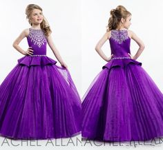 Rachel Allan 2016 Purple Ball Gown Princess Girl's Pageant Dresses Sparkling Beaded Crystals Zipper Back Cute Girls Flower Girls Dresses Online with $72.91/Piece on Weddingmall's Store | DHgate.com