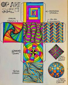 Op Art Lessons, Art Lessons Elementary, Art Cube, Intro To Art, 7th Grade Art, Middle School Art Projects, Art Worksheets, Ecole Art, Art En Ligne