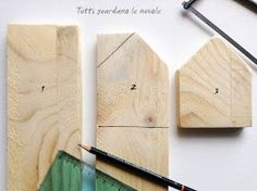 66 Ideas Scrap Wood Crafts Ideas House For 2019 Scrap Wood Crafts, Wood Block Crafts, Driftwood Crafts, Wooden Crafts, Diy Wood Projects, Wood Blocks, Small Wooden House, Wooden Houses, Painted Houses