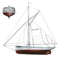 "Essex oyster smack ""Betty"", built 1906 at Aldous, in Brightlingsea, Essex, England - pitch pine on oak frames - http://www.betty-ck145.de/docueng/betty_ck145/betty_specifications.html"
