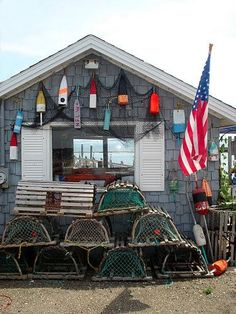 Maine Buoys and Lobster Trap Shack Lobster Shack, Lobster Trap, Crab Shack, Surf Shack, Big Pine Key, Portland Maine, Cabins And Cottages, Nantucket, New Hampshire