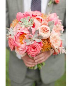 Vibrant Coral, Orange and Pink Wedding - Mon Cheri Bridals Orange And Pink Wedding, Coral Wedding Flowers, Floral Wedding, Rustic Wedding, Coral Orange, Wedding Ideas, Bride Bouquets, Floral Bouquets, Peach Bouquet