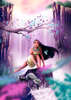 Pocahontas am Wasserfall von MaxiePerlberg auf DeviantArt - Disney ~ Disney Pixar, Disney Pocahontas, Disney Animation, Disney Cartoons, Disney And Dreamworks, Disney Magic, Disney Movies, Disney Characters, Pocahontas Drawing