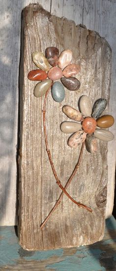 Driftwood Art,  pebble art,  pebble flowers, rock flowers, etsy.com,  hand made, Flower power