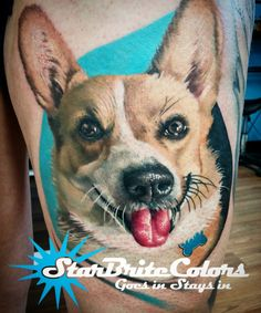Amazing Dog portrait tattoo by Chanuen Flint