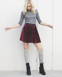 Jordyn's Burgandy velvet Skirt
