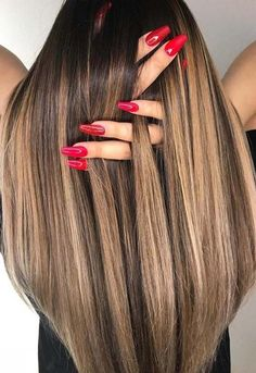 10 Gorgeous Toffee Chocolate Hair Color Ideas with Cute Nail Arts 2018