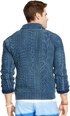 f6c15ddce where to buy polo ralph lauren indigo cotton shawl cardigan in blue for men  indigo 33abc