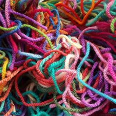 yarn scraps from projects past, crochetbug, upcycle