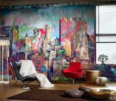 Fabulous and colorful graffiti wall for the eclectic living room