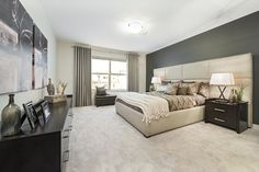 Retreat to the comfort and luxury of a warm master bedroom, like this one in Jayman MasterBUILTs Allure<br></a>showhome in Secord, Edmonton. Warm carpet serves as a neutral backdrop against which textured creams,<br/>smooth browns, and pops of silver and white truly stand out. Master Bedroom, House Plans, Backdrops, Neutral, Smooth, Carpet, Warm, Luxury, Brown