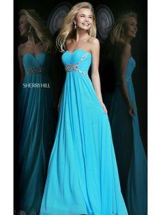 Strapless Turquoise Prom Dress Sherri Hill 3904