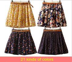 Hot sale ,16 Colors Pleated Floral Chiffon Women Ladies Cute Mini Skirt Belt Include $8.00