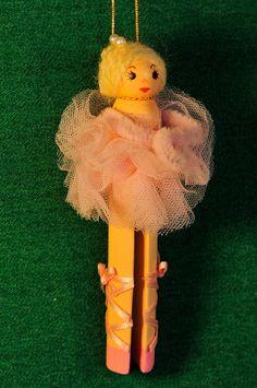 clothespin ballerina ornament
