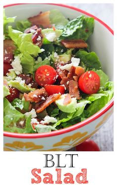 A BLT Salad is an easy salad to make as a side or light dish. Add chicken if you want something extra!