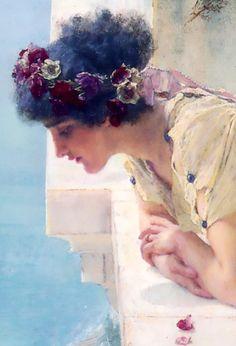 Lawrence Alma-Tadema, A coign of vantage, 1985.(detail)