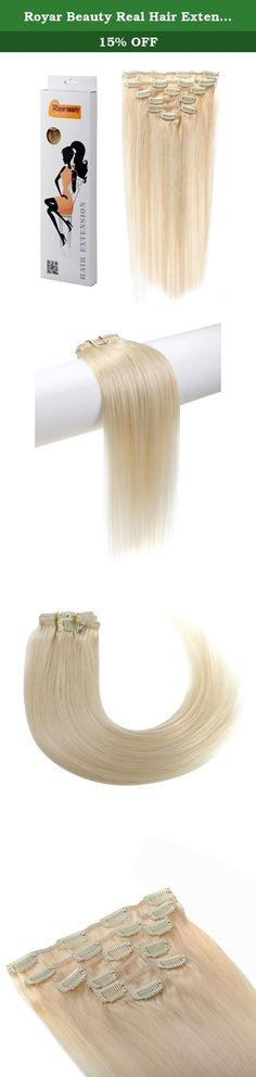 Royar Beauty Real Hair Extensions Clip In Full Head Wig Clips Remy Hair Extentions(platinum blonde,18inch,120g). Warm Notes - Curling temperature better below 380 degrees Fahrenheit. - To re-coloring the extensions requires particular skills and darker dyeing products. - Hairs weaved through the weft with clips, please be gentle when handling to avoid hair loss. - Real human hair is natural and healthy, synthetic hair looks smooth at cheap price but it is not good for health…