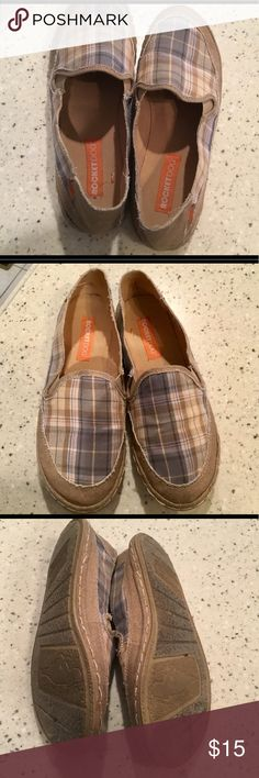 Rocket Dog Slip Ons Plaid with tan, gray, blue and red. Rocket Dog Shoes