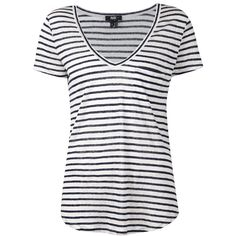 Paige 'Lynnea' striped T-shirt (190 BAM) ❤ liked on Polyvore featuring tops, t-shirts, shirts, tees, stripes, white, stripe t shirt, white striped shirt, t shirts and white linen shirt