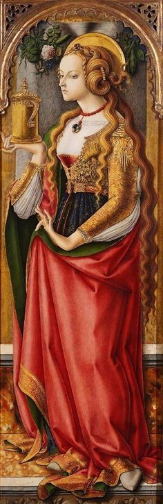 Mary Magdalene, Carlo Crivelli; she holds her symbolic attribute, an ointment pot.