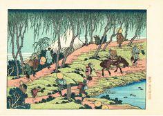 "Items similar to Japanese Ukiyoe, Woodblock print, Katsushika Hokusai, ""Mt.fuji seen from willows bank"" on Etsy Japanese Woodcut, Katsushika Hokusai, Japanese Paper, Sculpture, Woodblock Print, Vintage World Maps, Prints, Artist, Artwork"