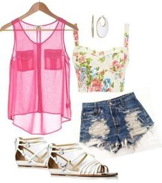 I would wear this with different shorts and if the flower top thing was more like a tank top and longer!