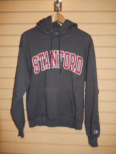 VTG Men's Stanford Cardinal Champion Brand Sewn Hoodie Sweatshirt Gray Medium SU #Champion #StanfordCardinal