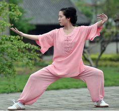 High-Quality-Women-Cotton-Linen-Medium-Sleeve-Tai-Chi-Uniform-Kung-Fu-Suits