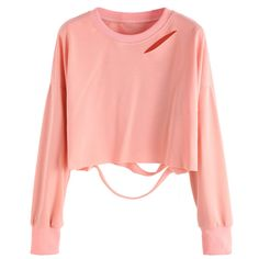 Pink Drop Shoulder Cut Out Crop T-shirt (170 UYU) ❤ liked on Polyvore featuring tops, t-shirts, shirts, crop tops, sweaters, pink, long sleeve tees, pink shirts, red shirt and pink long sleeve shirt