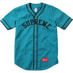 Supreme Baseball Jersey ❤ liked on Polyvore featuring tops, shirts, jersey, tops // jackets, blue shirt, baseball jersey shirts, baseball top, jersey knit shirts and baseball shirts