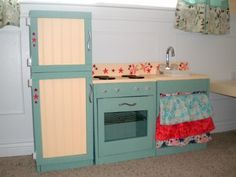Hand made play kitchen! Love the vintage feel