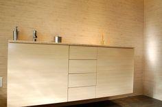 Bamboo Cabinet & Ceramic Mosaic Tiles