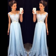 Cheap Fast Shipping Long Bridesmaid Dresses 2017 Illusion Scoop Applique Light Blue Vestido De Festa De Casamento Custom Fit