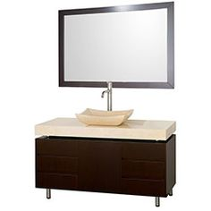"48"" Malibu Bathroom Vanity Set by Wyndham Collection - Espresso Finish with Ivory Marble Counter #BathroomRemodel #BlondyBathHome #BathroomVanity  #ModernVanity"