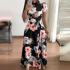 Barato AVODOVAMA M 2018 Vestidos de Verão da Cópia Floral Casual Vestido  Maxi Solto Mulheres Manga Curta Tie Cintura Longo Robe Femme 963950175e830