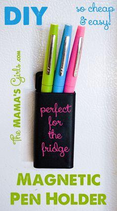 DIY Magnetic Pen Holder.