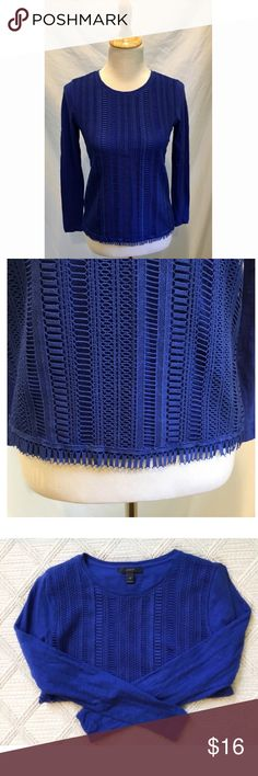"J. Crew Crochet Blue Fringe Top J.Crew crochet cobalt blue long sleeved top. Adorable crochet pattern on the front of the top w/tassels lining the bottom. Beautiful color. Perfect paired with some skinny jeans & booties for a stylish fall outfit!  Bust: 16"" pit to pit laying flat  Length: 21"" from shoulder to bottom and 21.5"" for sleeves J. Crew Tops"