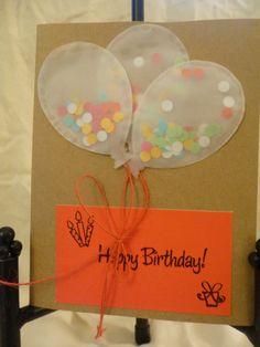 Birthday card - confetti balloons birthday card by MyCraftyPantsDesigns on Etsy, $5.00