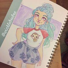 Character Design Idea~ By Winklebeebee Cute Art Styles, Cartoon Art Styles, Cartoon Drawings, Amazing Drawings, Cool Drawings, Character Drawing, Character Design, Arte Sketchbook, Art Sketches