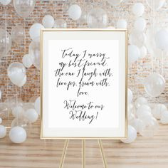 PRINTABLE WEDDING SIGN  Today I Marry My Best by LuminousPrints