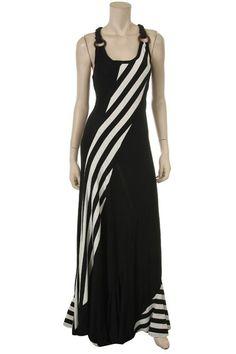 Plus Size Women's Black Haltered Stripe Maxi $65.00