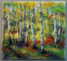 Large photo of Autumn In Yellow Embroidery Bracelets, Beaded Embroidery, Jo Wood, Seed Bead Art, Landscape Quilts, Gold Work, Fabric Squares, Large Photos, Landscape Pictures