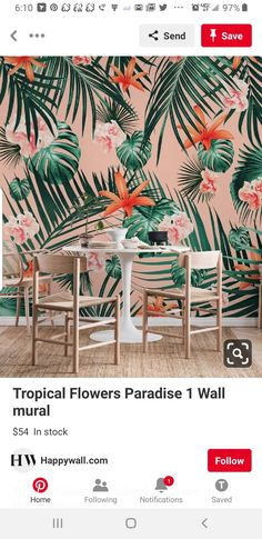Tropical Flowers Paradise 1 wall mural from happywall Tropical Bedroom Decor, Tropical Bedrooms, Tropical Interior, Tropical Decor, Tropical Flowers, Tropical Vibes, Paradise Wallpaper, Bold Wallpaper, Tropical Wallpaper