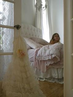Idea: ruffles & lace for laundry bag!!  Shabby chic bedroom