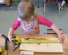 Woodworking Center-with tape measure, paper, pencil adds more elements. Woodworking For Kids, Woodworking Guide, Custom Woodworking, Woodworking Projects Plans, Woodworking Classes, Easy Crafts For Kids, Projects For Kids, Wood Projects, Kindergarten