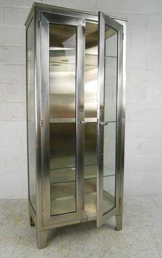 Single Industrial Metal Cabinet w/ Sliding Glass Doors | Sliding ...