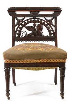An Egyptian Revival Rosewood Side Chair, possibly Pottier and Stymus and Company, New York, circa 1870-1880