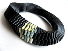 FRUCCI DESIGN-paper jewelry by Francesca Vitali -  SOLIDO-Twist bracelet  -    Repurposed paper, recycled yellow pages